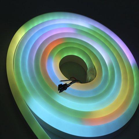 Світлодіодна стрічка RGB SMD5050, WS2811 (гнучка, неонова, U-форма, з управлінням, ІР67, 12 В, 60 діодів/м, 5 м) Прев'ю 5